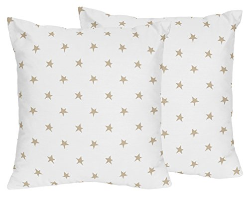 - Sweet Jojo Designs Gold and White Star Decorative Accent Throw Pillows for Celestial Collection Set of 2