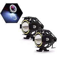 Farol de Milha Moto Angel Eyes Branco U7 Grande Luz Par Auxiliar Universal