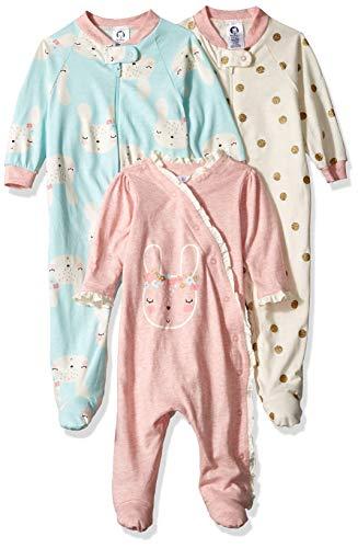 Preemie Girl - Gerber Baby Girls 3-Pack Organic Sleep 'N Play, Bunny Love, Preemie