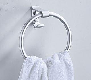 Hagyh Bagno Spazio in Alluminio Non Forato Portasciugamani Bagno Bagno WC Circolare Anello Appeso Portasciugamani, Anello Asciugamano Forato
