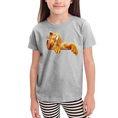 Girl Casual Children's Short Sleeve Garfield- 3T Gray ()