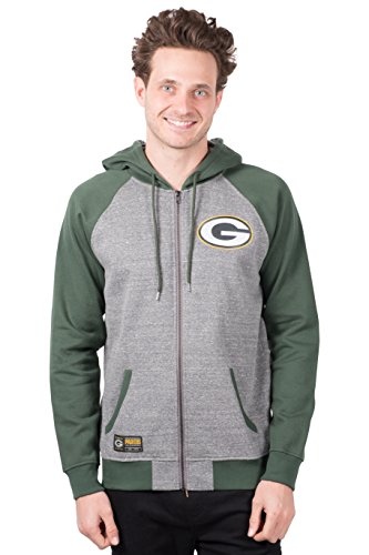 Icer Brands NFL Green Bay Packers Men's Full Zip Fleece Hoodie Sweatshirt Raglan Jacket, X-Large, Gray