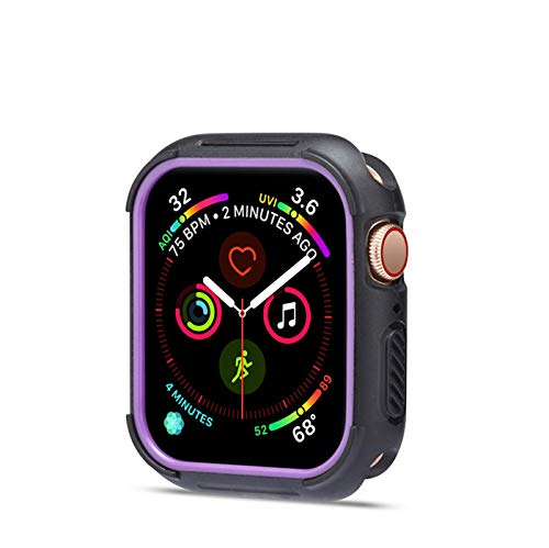 Case for Apple Watch Series 4 40mm 44mm, Soft Slim Plated TPU Shockproof Bumper Shell Anti-Scratch Flexible iWatch 4 Cover (iWatch 4 44MM, Black+Purple) ()