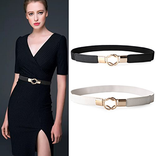 2 Pack Women Metal Fashion Skinny Leather Belt Gold Elastic Buckle belt solid color By JASGOOD Band Leather Belt Buckle