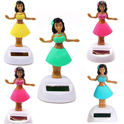 KT Set of 5 Solar Toy Hawaiian ALOHA Luau Hula Girl Random Mixed -