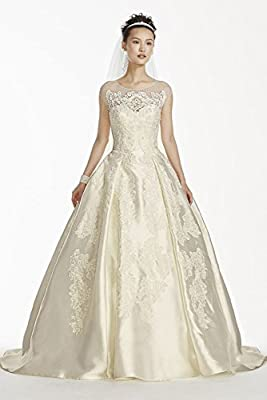 Mikado Oleg Cassini Illusion Cap Sleeve Wedding Dress Style CWG701
