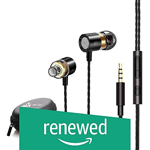 (Renewed) WeCool Mr.Bass W004 in-Ear Wired Earphones with Mic,Deep Bass HD Sound Mobile Headset with Noise Cancellation,Mobile Phone headsets,Ear Phone with mic and Free Carry Case (Black)