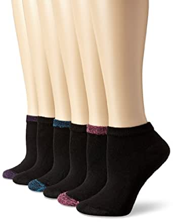 Hanes Women's Comfort Blend Low Cut Sock, Black, shoe size 5-9 (Pack of 6)