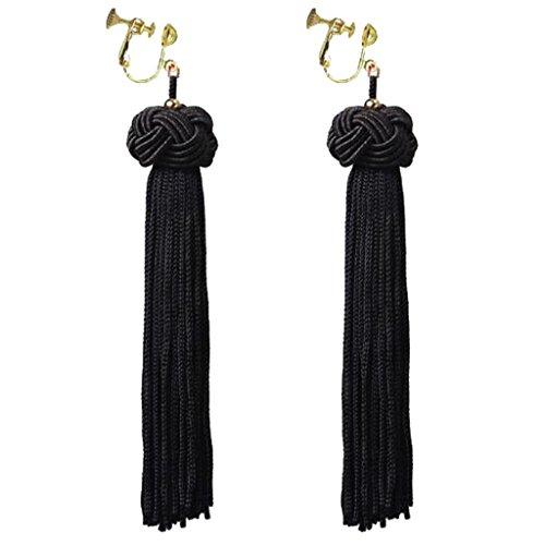 Handmade Bohemian Black Fringe Clip on Dangle Earrings Long Tassel Prom Bar for Girls Women Dress Up