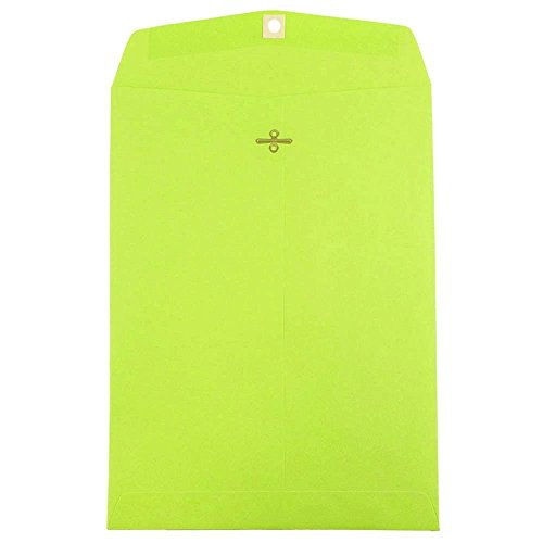 """JAM Paper Open End Catalog Clasp Paper Envelope - 9"""" x 12"""" in - Ultra Lime - 10/pack"""