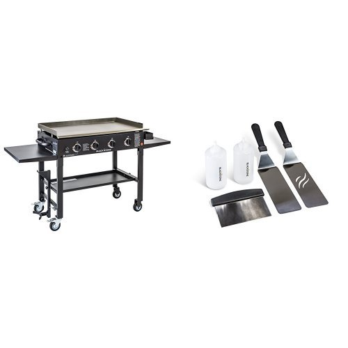 utdoor Flat Top Gas Grill Griddle Station - 4-burner - Propane Fueled - Restaurant Grade - Professional Quality - With Accesory Kit ()