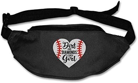 ダートアンドダイアモンドちょっと女の子野球ユニセックスアウトドアファニーパックバッグベルトバッグスポーツウエストパック