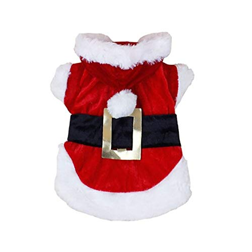 Letdown Pet Christmas Hoodie Puppy Dog Cat Santa Winter Warm Sweater Costumes Apparel (M, Red) -
