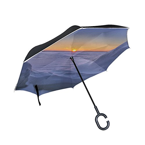YIJIEVE Lake Higgins Michigan Snow Inverted Umbrella Large Double Layer Outdoor Rain Sun Car Reversible Umbrella by YIJIEVE