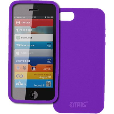 Empire Apple iPhone 5 Purple Case Tasche Hülle Flexible Silicone Skin + Auto Dashboard Berg