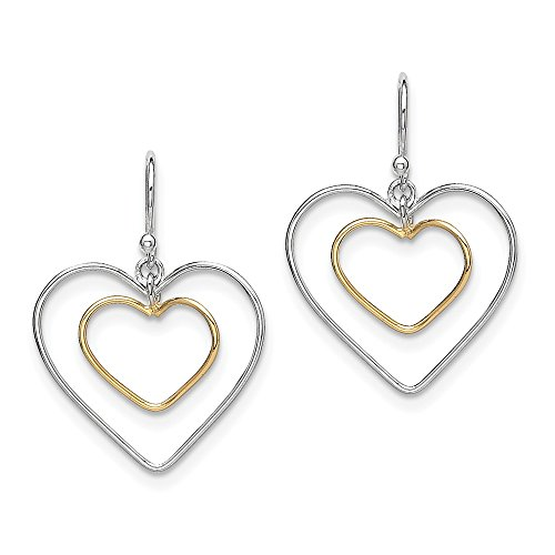 925 Sterling Silver Gold Plated Double Heart Wire Drop Dangle Chandelier Earrings Love Fine Jewelry Gifts For Women For Her ()