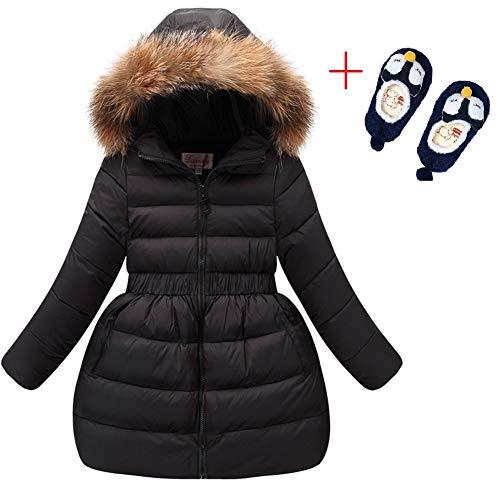 LSERVER Girls Down Jacket Winter Dress Coat 2018 New Kids White Duck Down Parkas for Girls with Fur Hood ()