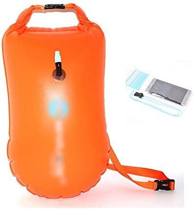 オープンウォータースイムブイ、ソフトハンドル/Storableが泳ぐブイドライバッグ、大人とトライアスロン、グリーン/ピンク/オレンジのためにフローテーションデバイス (Color : Orange)