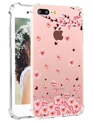 iPhone 8 Plus Floral Case Girly iPhone 7 Plus Case Hepix Vintage Cherry Petals Flowers Pattern Clear Soft Flexible TPU iPhone 8 Plus Cases with Protective Bumpers Shock Absorption Anti-Scratch ()