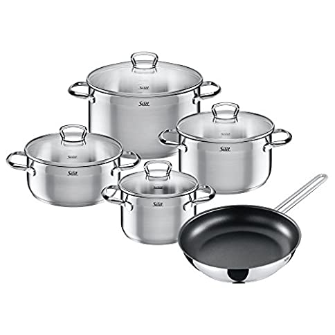 Silit 2109295914 of Pan Set 5-Piece with Pouring Rim partly frosted glass lid stainless steel 28 cm Suitable for Induction Cookers Dishwasher Safe, 5 Units - 41F5oJRkShL - Silit 2109295914 of Pan Set 5-Piece with Pouring Rim partly frosted glass lid stainless steel 28 cm Suitable for Induction Cookers Dishwasher Safe, 5 Units