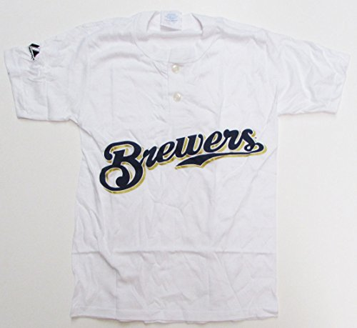 (Majestic 2-Button Milwaukee Brewers Replica Youth Jersey 50/50 White YXL (R30))