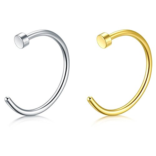 (Feramox 18G 316L Stainless Steel Nose Rings Hoop Nose Piercing Body Jewelry 2PCS-8mm)