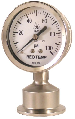 REOTEMP SG25ATC15P20 Sanitary Pressure Gauge, Glycerin-Filled, Stainless Steel 316 Wetted Parts, 2-1/2
