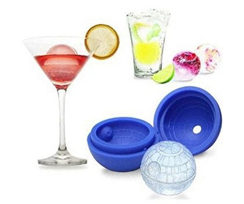 Danyoun 3D Star Wars Death Star Silicone Ice Sphere Mould Tray, Round Ball Ice Cubes, Jelly Balls, Chocolate Balls, Bath Bombs in Blue Food Mould, Ice Mold Maker Eco Friendly Baking Cool Drinks Blue (Various Fillings Mint)