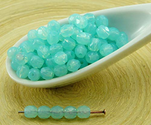 100pcs Opal Aquamarine Blue Turquoise Round Faceted Fire Polished Small Spacer Czech Glass Beads 4mm