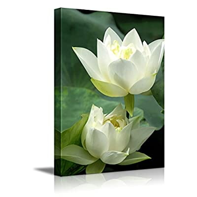 Canvas Prints Wall Art - White Lotus Flower and Green Lotus Leaf | Modern Wall Decor/Home Art Stretched Gallery Wraps Giclee Print & Wood Framed. Ready to Hang - 24