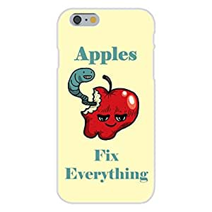 """Apple iphone 5 5s Custom Case White Plastic Snap On - """"Apples Fix Everything"""