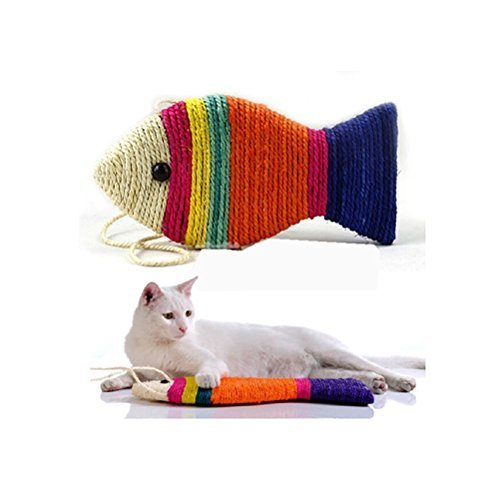 UEETEK Sisal Rope Cat Scratch Board Scratching Pad Play Funny Toy Fish Shape (Random Color)