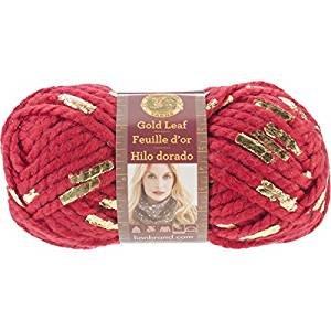 Lion Brand Yarn 231-113 Gold Leaf Yarn, Red/Gold 3 Balls of Yarn, Bundle -