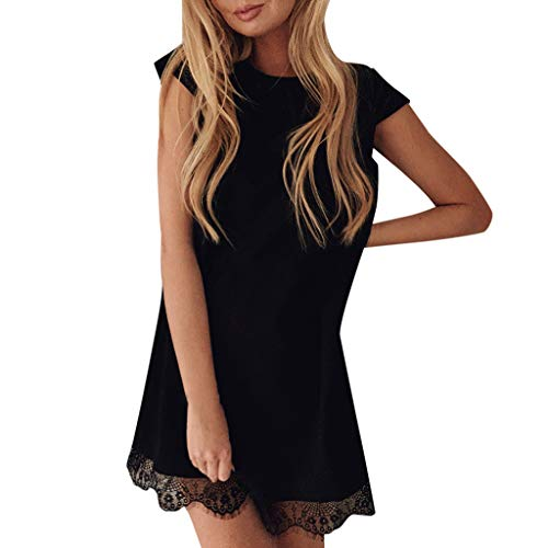 Mikilon Women Summer Tunic Dress Lace Trim Hem Tank Dress Cap Sleeve T-Shirt Mini Dress with Belt Black