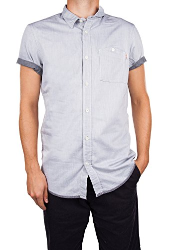 chemise manches courtes tom tailor 2029694 fitted,uni shirt,1/2 bleu