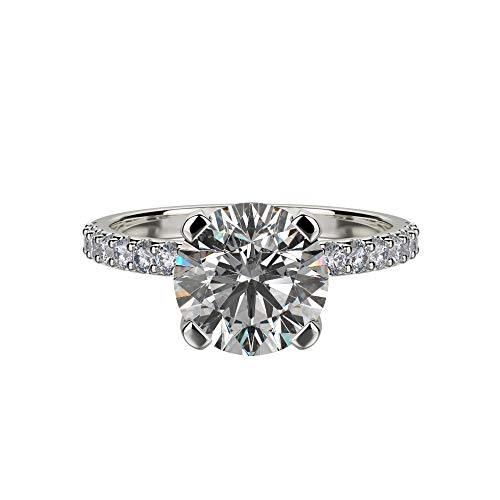 - Nana Silver 7.5mm (1.5ct) Round Cut Zirconia Solitaire Engagement Ring-Platinum Plated-Size 4