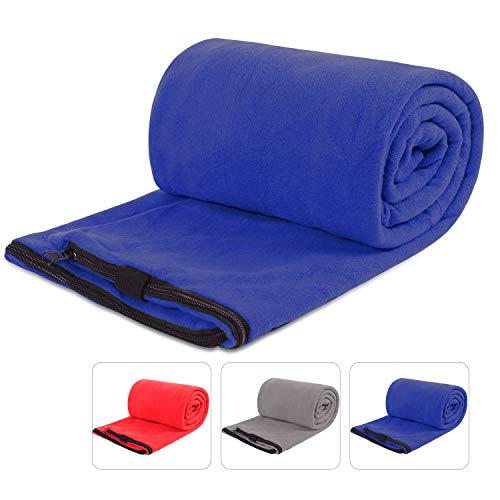 REDCAMP Fleece Sleeping Bag Liner for Adult Warm Weather, Full Sized Zipper Backpacking Blanket for Outdoor Camping or Indoor Used with Sack Blue
