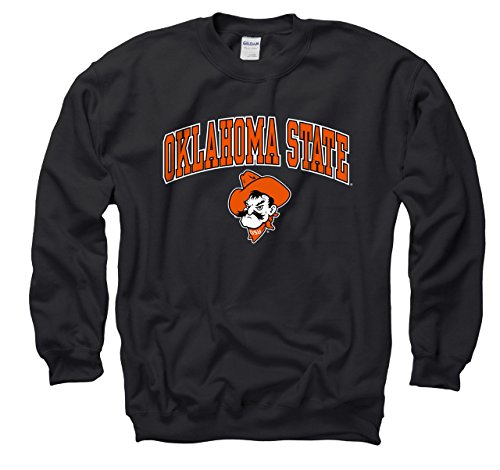 Campus Colors Oklahoma State Cowboys Adult Arch & Logo Gameday Crewneck Sweatshirt - Black, Small