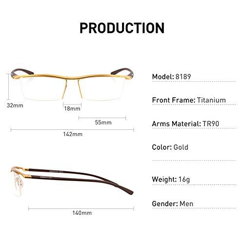 SHOPUS | Bertha Men Semi-Rimless Eyeglasses,Pure Titanium
