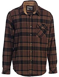 Men's Long Sleeve Flannel Shirt With Corduroy Contrast