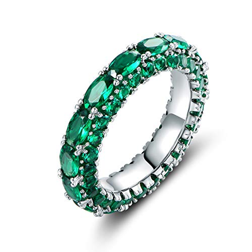 Barzel Rhodium Plated Oval Cut Created Emerald & Created Sapphire Three Row Eternity Ring Band (Emerald, 8)