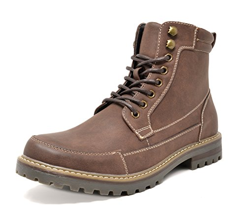 Bruno Marc Men's Engle-01 Dark Brown Motorcycle Combat Oxford Boots Size 10.5 M US ()
