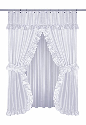 Home Bargains Plus Diamond Dot Ruffled Double Swag Fabric Shower Curtain with Valance and Liner - White