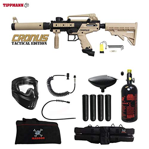 MAddog Tippmann Cronus Tactical Specialist HPA Paintball Gun Package - Black/Tan