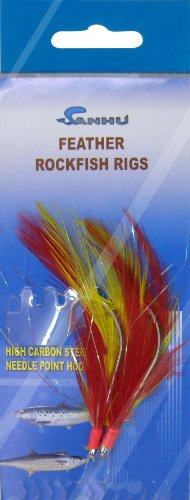 Rock Cod Feather Rigs 5/0 Red/Yellow-10 Packs