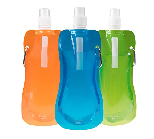 Clever Creations Sports Water Bottles Collapsible & Camping Friendly | BPA Free | Unique Collapsible Bottles Hold 480 mL Each | Perfect for Biking, Hiking or Relaxing | Orange, Blue, Green