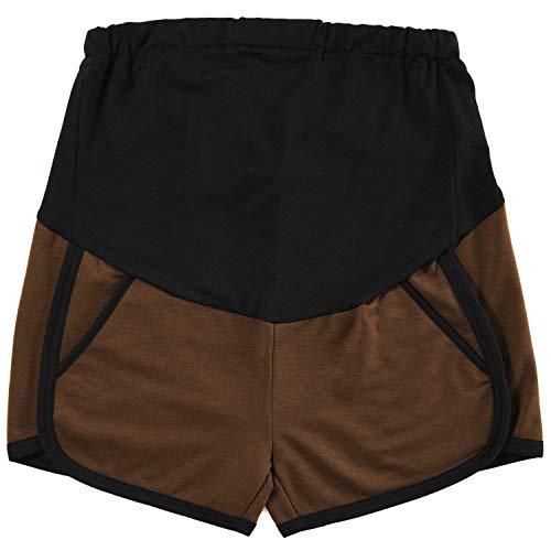 GINKANA Maternity Shorts Summer Workout Stretchy Full Panel Short Pants Mocha