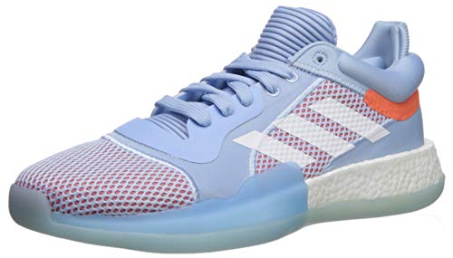 (adidas Men's Marquee Boost Low Basketball Shoe Glow Blue/White/hi-res Coral 14.5 M US)