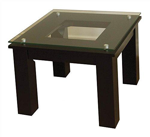 (Plateau Glass Wood SL-TE (19 x 19) (B) Accent Table, Black)