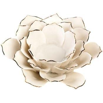 Home Locomotion White Lotus Tea Light Holder